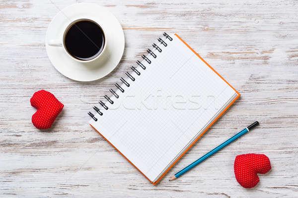 Сток-фото: чашку · кофе · блокнот · карандашом · два