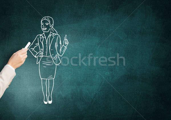 карикатура деловая женщина женщины стороны рисунок мелом Сток-фото © adam121