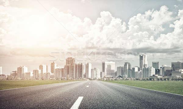 Route grand ville naturelles paysage asphalte Photo stock © adam121