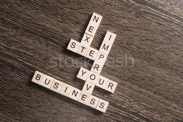 Conceptual business keywords on table with elements of game making crossword Stock photo © adam121