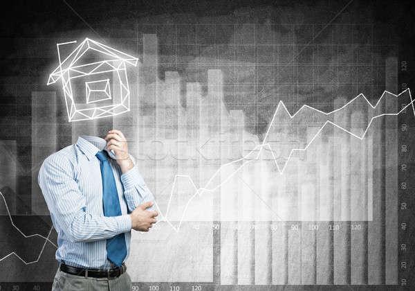 Biznesmen model domu działalności pracy Zdjęcia stock © adam121