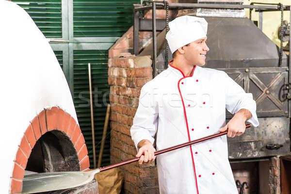 şef fırın geleneksel pişirme yangın mutlu Stok fotoğraf © adam121
