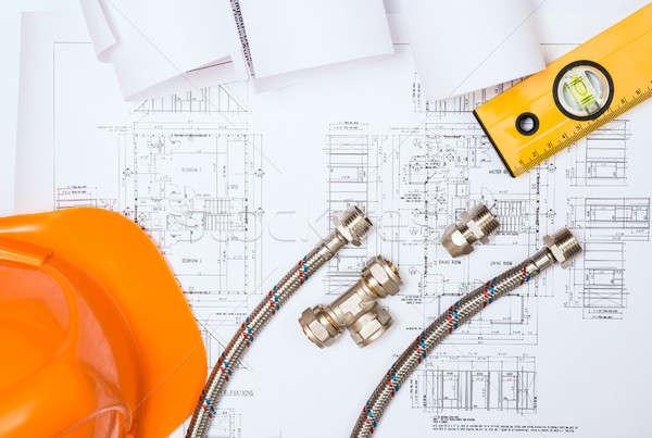ストックフォト: 配管 · 図面 · 建設 · 静物 · デスクトップ · 作業領域