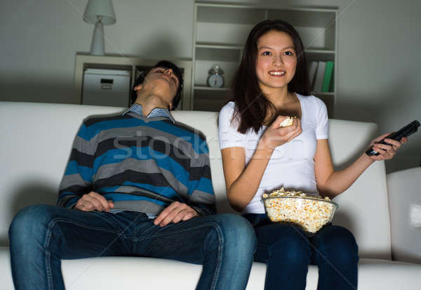 woman watching television at home Stock photo © adam121