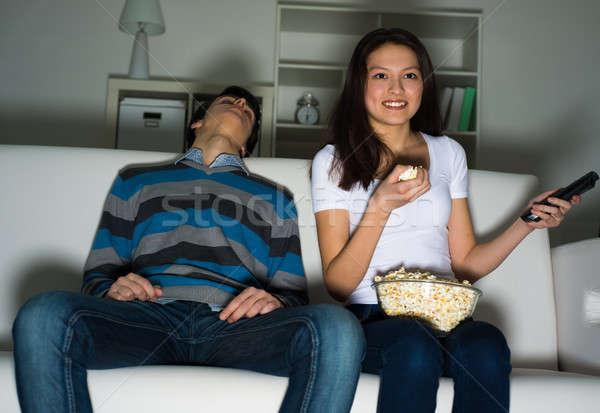 Mujer casa entusiasmo marido dormir Foto stock © adam121