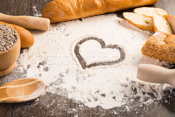 Liszt fehér kenyér szív szimbólum fából készült felület Stock fotó © adam121