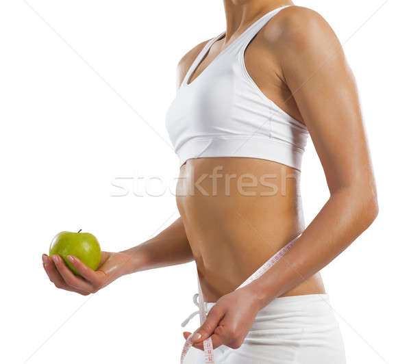 Foto stock: Jovem · mulher · verde · maçã