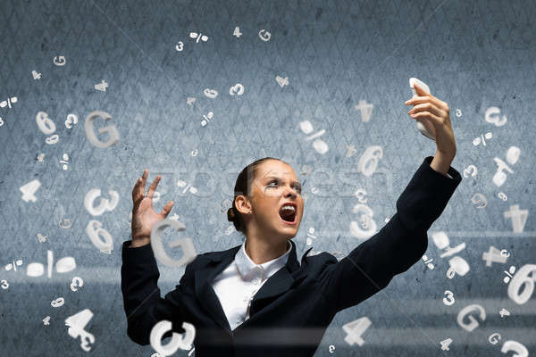 Agresszív vezetőség fiatal üzletasszony sikít mobiltelefon Stock fotó © adam121