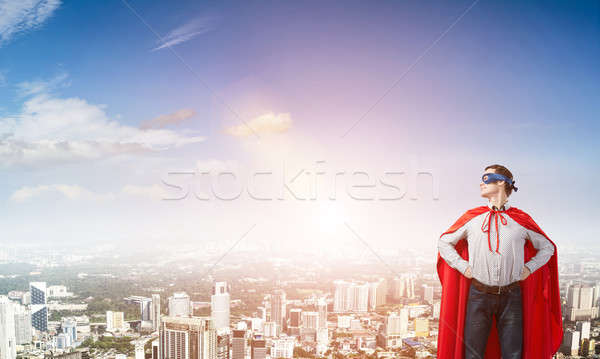 Szuperhős fiatal férfi maszk karok derék Stock fotó © adam121
