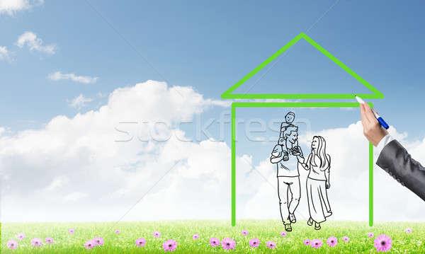 Famiglia felice casa figura immobiliari simbolo nubi Foto d'archivio © adam121