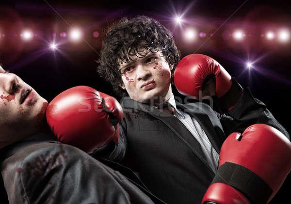 Business concorrenti due imprenditore guantoni da boxe anello Foto d'archivio © adam121
