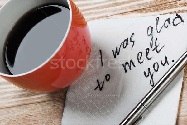 Romantikus üzenet írott szalvéta kávéscsésze toll Stock fotó © adam121