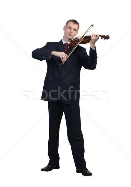 Businessman playing violin Stock photo © adam121
