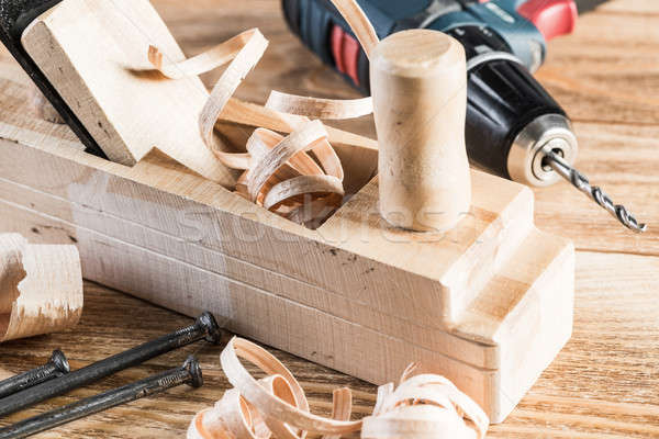 Wooden planer and filings Stock photo © adam121