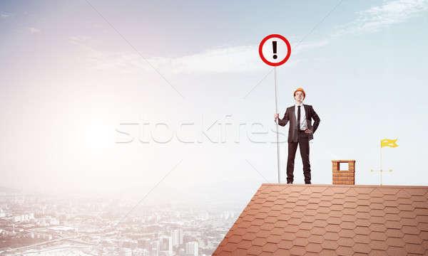 Empresario casa superior signo signo de admiración Foto stock © adam121