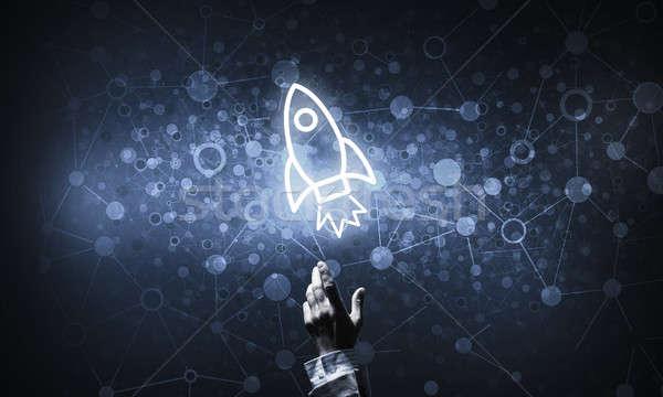 Technologie idee raket icon aanraken Stockfoto © adam121