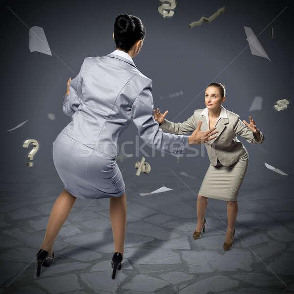 two businesswomen fighting as sumoist Stock photo © adam121