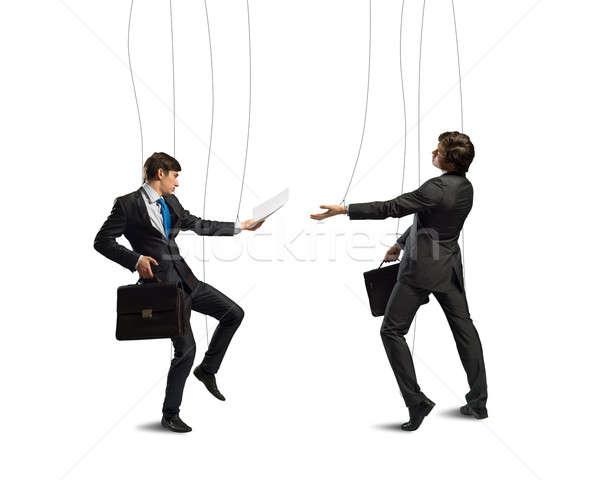 Negócio imagem dois empresário fantoche boneca Foto stock © adam121
