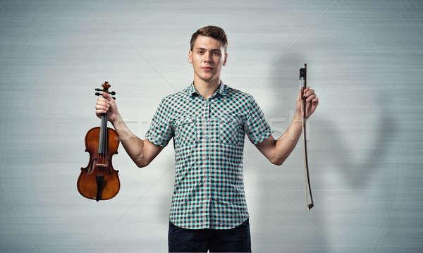 ミュージシャン バイオリン 小さな ハンサム 男 シャツ ストックフォト © adam121