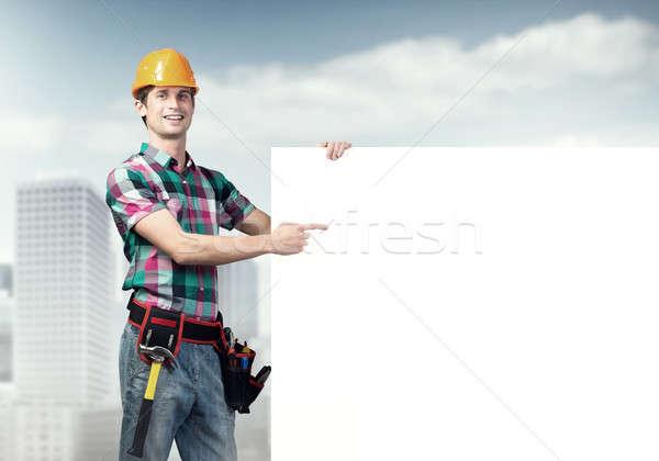 Repairman demonstrating banner Stock photo © adam121