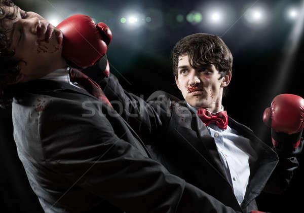 üzlet versenytársak kettő üzletember boxkesztyűk gyűrű Stock fotó © adam121