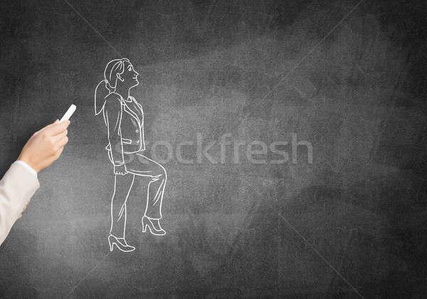 Karikatúra üzletasszony női kéz rajz kréta Stock fotó © adam121
