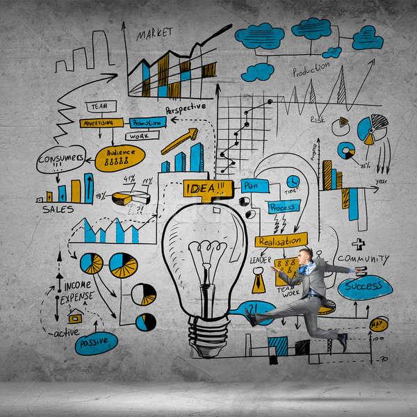 Business verplaatsen lopen zakenman plan leuk Stockfoto © adam121
