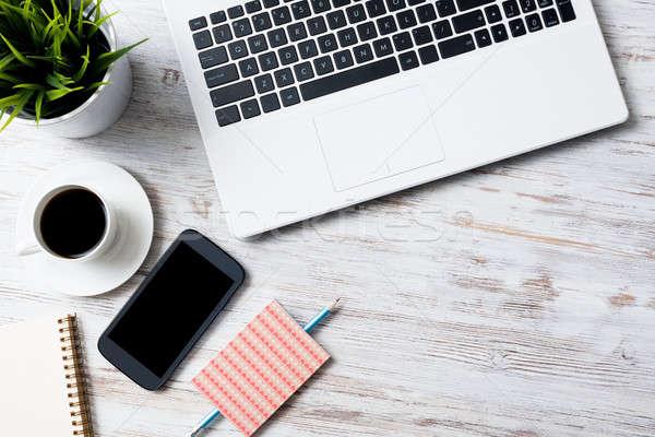 üzlet csendélet fotó laptop jegyzettömb kávé Stock fotó © adam121