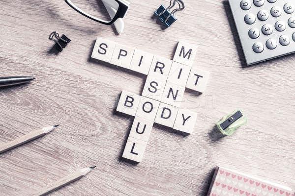 Ruh ruh akla vücut sözler ahşap Stok fotoğraf © adam121