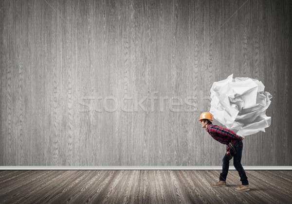 Foto stock: Ingeniero · hombre · cargar · constructor
