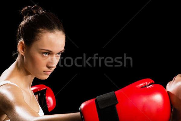 Mujer boxeo agresivo adversario cabeza salud Foto stock © adam121
