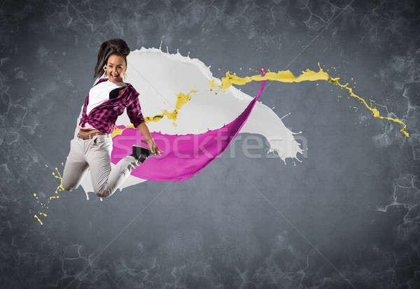 Női táncos csobbanások festék nő tánc Stock fotó © adam121