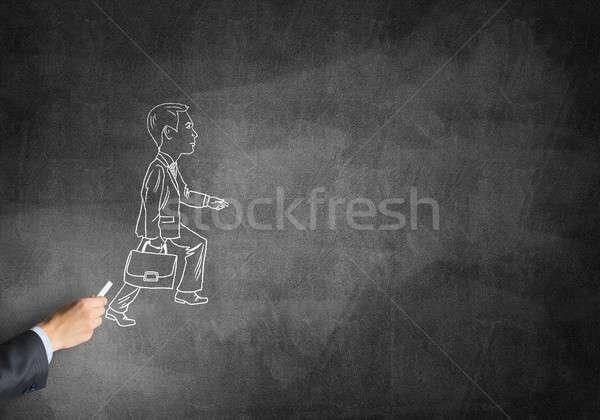 Caricatura imprenditore maschio mano disegno gesso Foto d'archivio © adam121