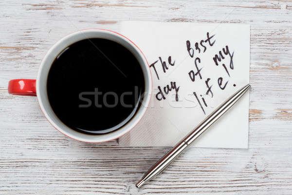メッセージ 書かれた ナプキン カップ コーヒー 紙 ストックフォト © adam121
