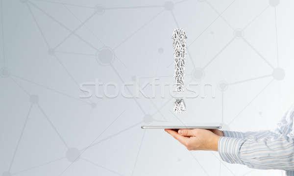 ünlem işareti tablet el işadamı Stok fotoğraf © adam121