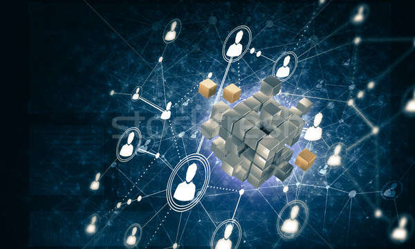 Concept of Internet and networking with digital cube figure on d Stock photo © adam121