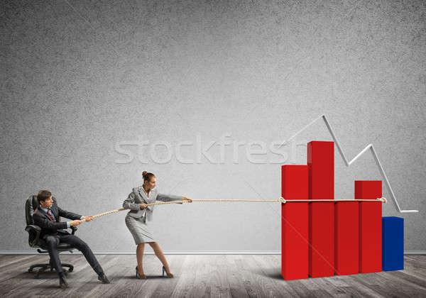 Gens d'affaires effort graphique croissance symbole Photo stock © adam121
