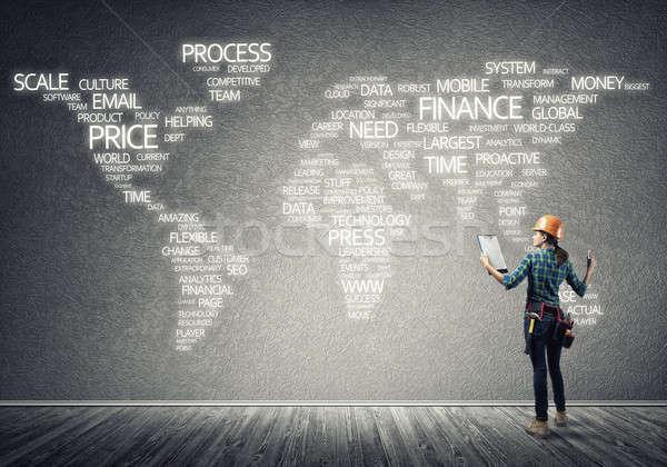 Construção globalização feminino quarto negócio Foto stock © adam121