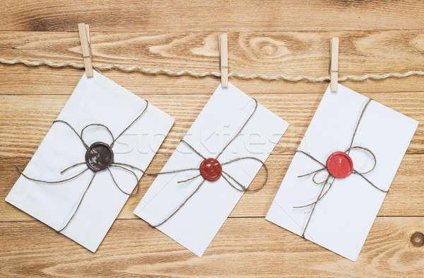 Mail busta corda impiccagione legno carta Foto d'archivio © adam121