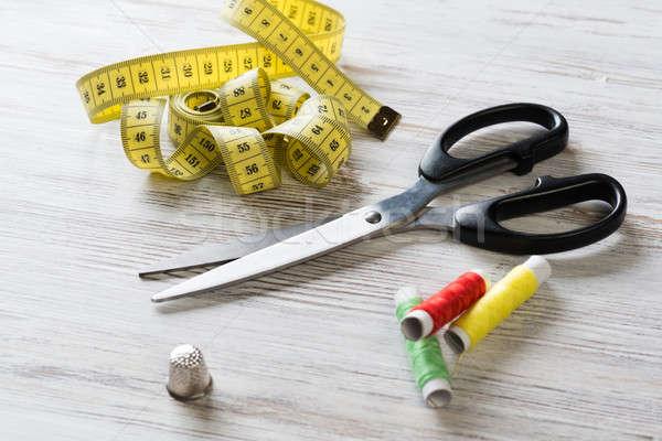 швейных таблице старые ножницы лента Сток-фото © adam121