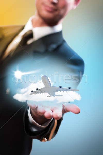 Pilot form el uçak uçan gökyüzü Stok fotoğraf © adam121