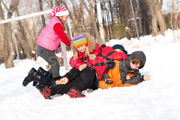Children in Winter Park fooled in the snow Stock photo © adam121