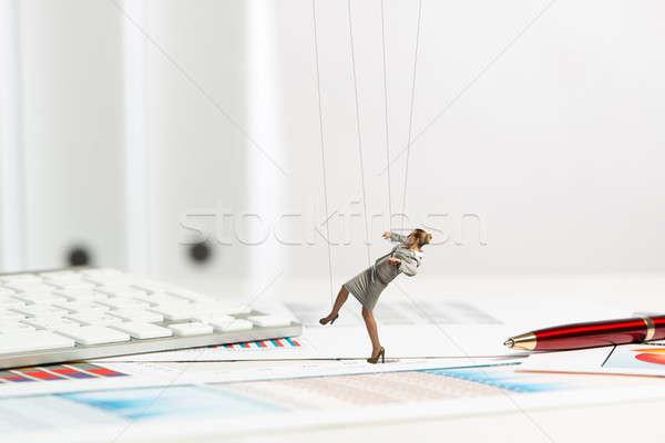 Empresária fantoche boneca secretária passado artigos de papelaria Foto stock © adam121