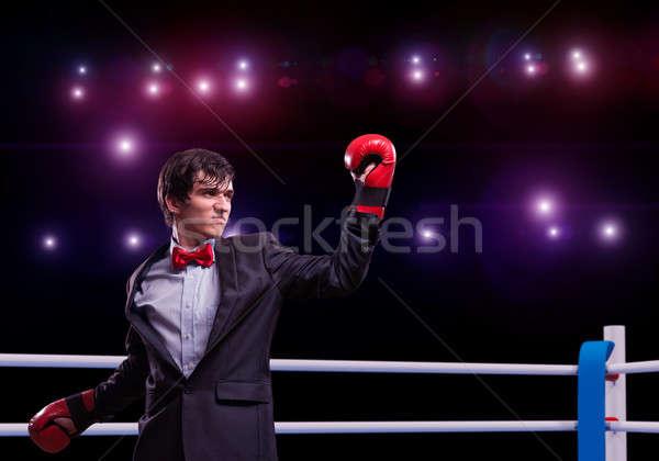 üzletember boxkesztyűk gyűrű kép verseny üzlet Stock fotó © adam121