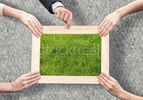 Zieleń ludzi ręce Zdjęcia stock © adam121