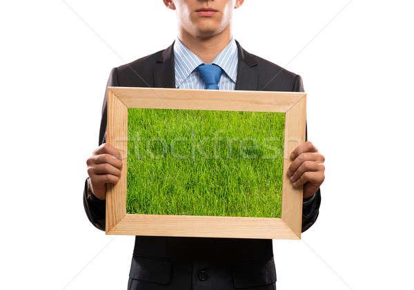 Yeşil çim işadamı çerçeve Stok fotoğraf © adam121