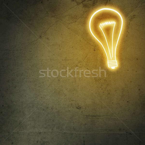 Stockfoto: Idee · afbeelding · gloeilamp · cement · muur · achtergrond