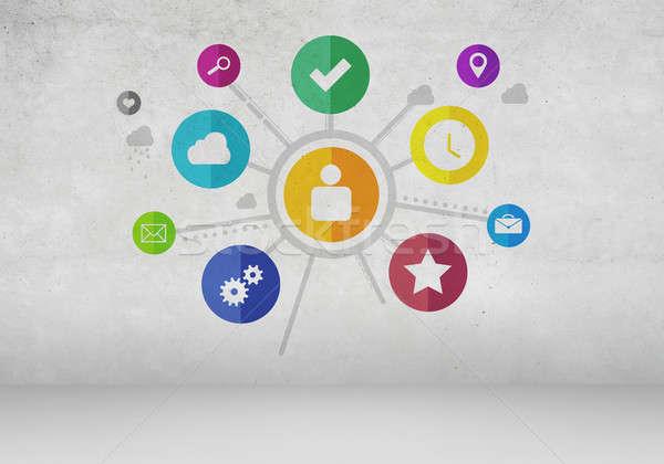 Stock fotó: Felhasználó · interfész · csoport · színes · alkalmazás · ikonok