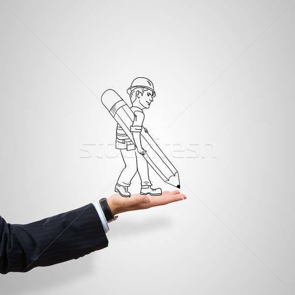 Mérnök férfi rajzolt építkezés férfi pálma Stock fotó © adam121