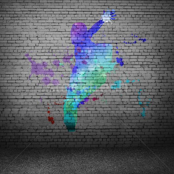 Abstract danser afbeelding kleur silhouet grijs Stockfoto © adam121